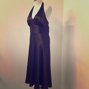 Ann Taylor LOFT brown silk halter dress NWT